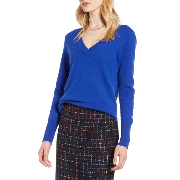 Halogen Cashmere V-neck Sweater Blue Small
